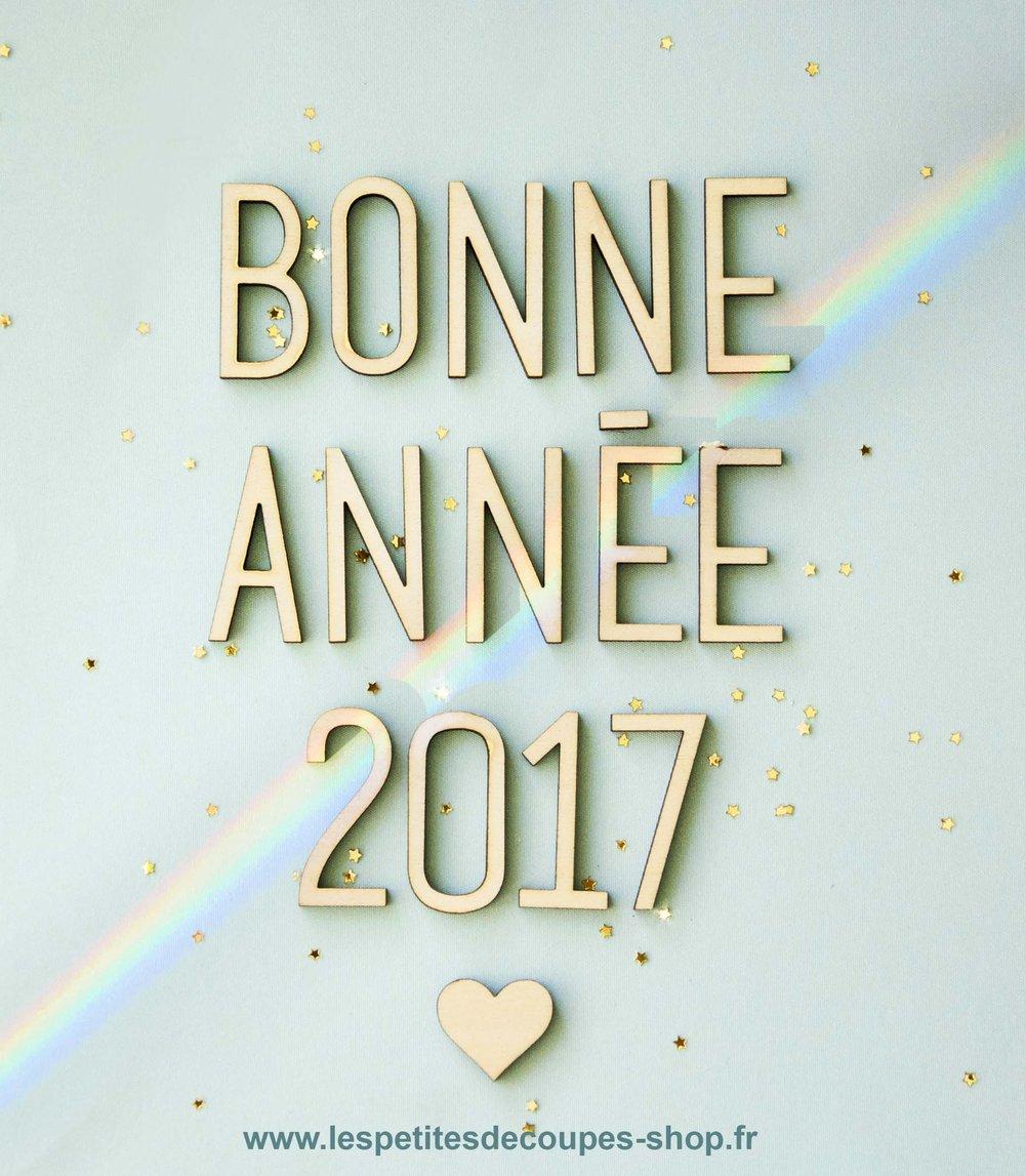Bonne année découpe laser - lettres en bois