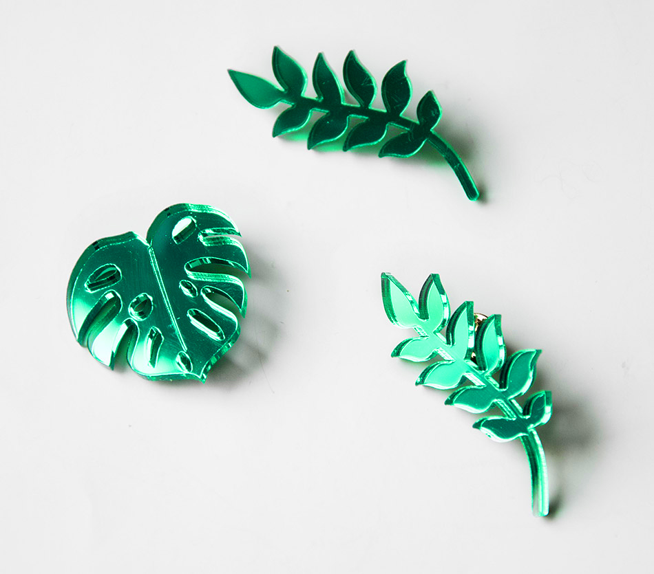 "broche brooch - plexiglas plexi vert - feuille végétaux monstera - ""made in france"" fabriqué en France"