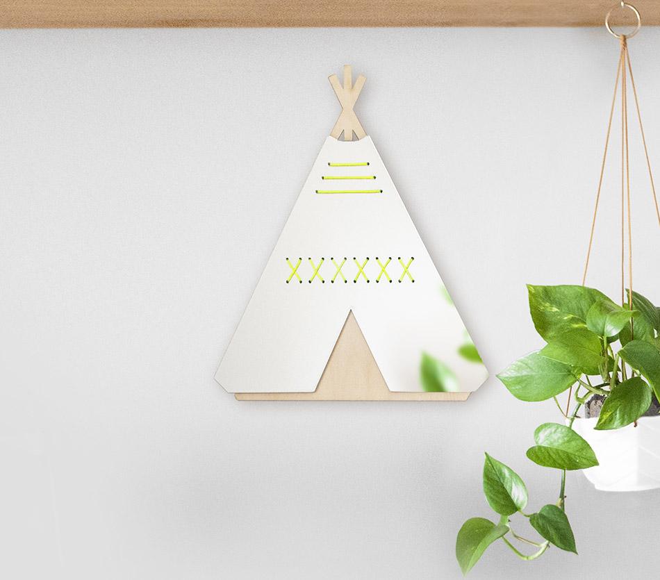MIROIR_TIPI_jaune-fluo_bois-enfant-decoration