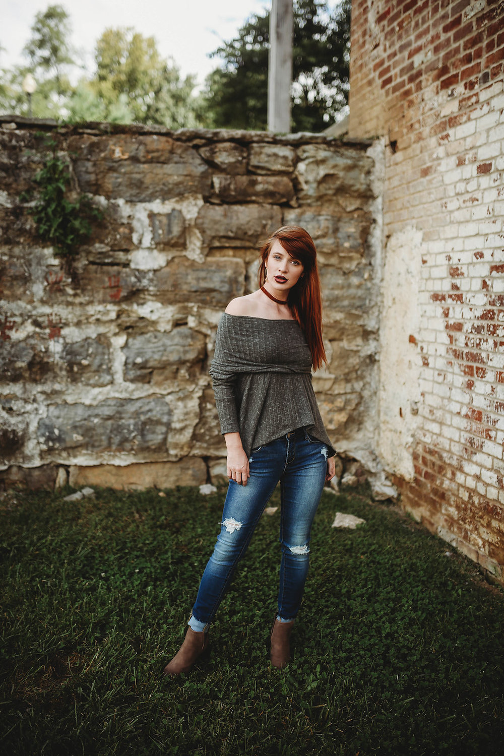 We're wondering if one day this mill will turn into a place of business...I suppose we'll have to wait and see! Get the look at Morgan's on Main: Off-Shoulder Olive Sweater ($32.50) | Destructed Skinny Jeans ($63) | Taupe Booties ($36) Morgan Ships! shop her Facebook and IG