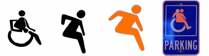 Accessible Icon 1.0 - An orange cut-out-person overlaying the old symbol on signs to express the personhood of persons with disability.