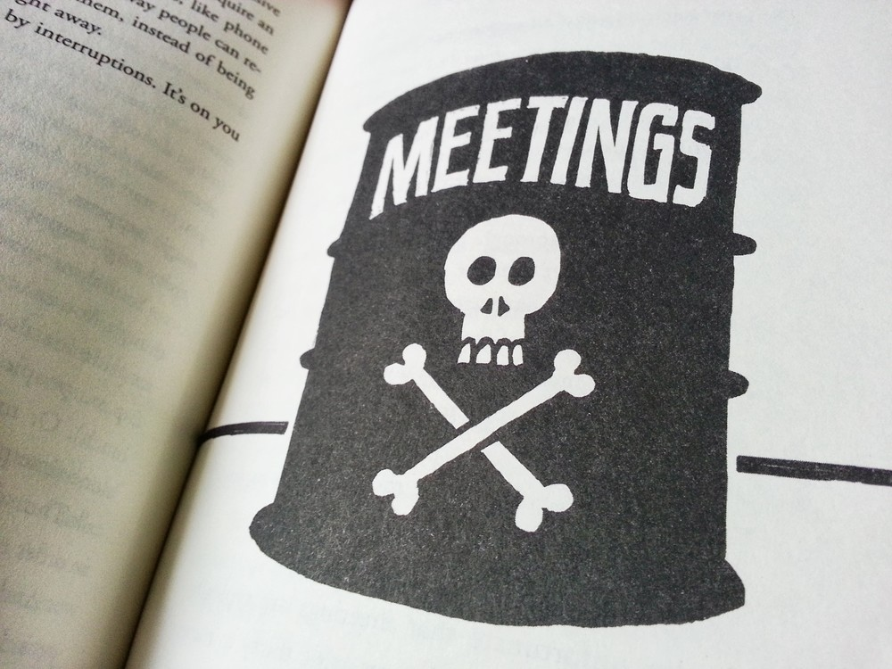 """Meetings are toxic"". Yeah, the illustrations are pretty great, too."