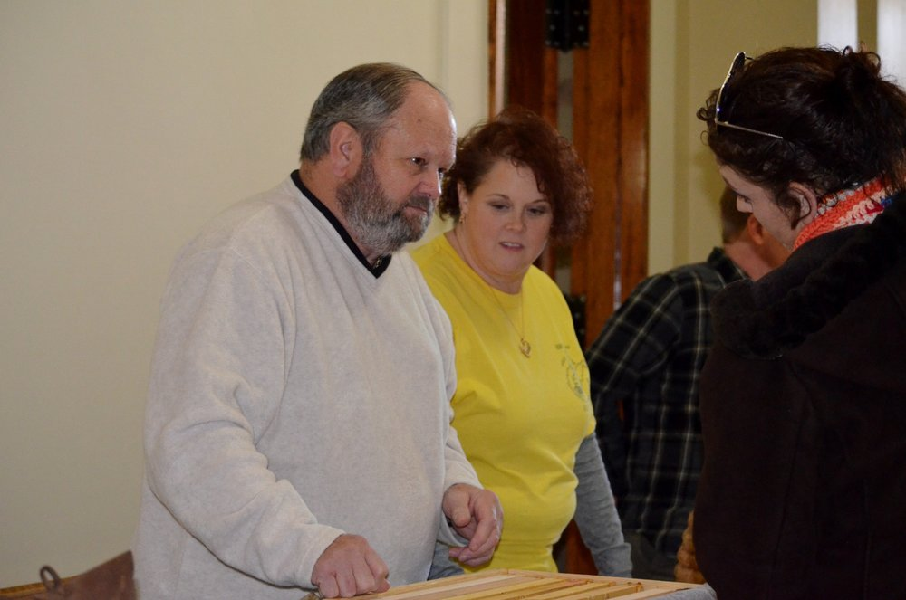 MCBA Members Ron Southern and Joni Liston talking bees at the Mountain State History Expo in Fairmont, WV.