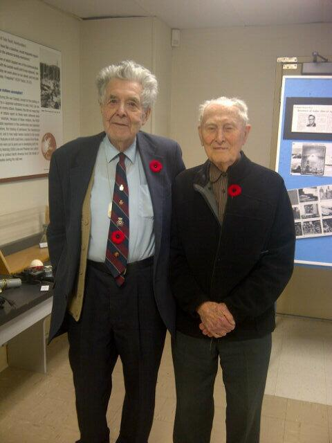 Our volunteer and WW2 veteran Roy Taylor stands with another visiting radar veteran, John Tevlin.