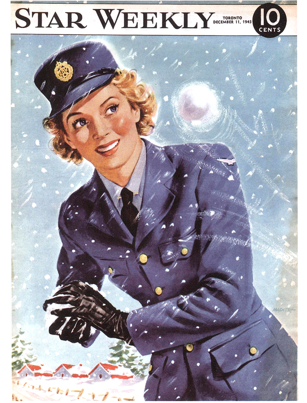 "In this full colour ""Star Weekly"" cover from December 11th, 1943, a RCAF WAAF is enjoying a spirited snowball fight."