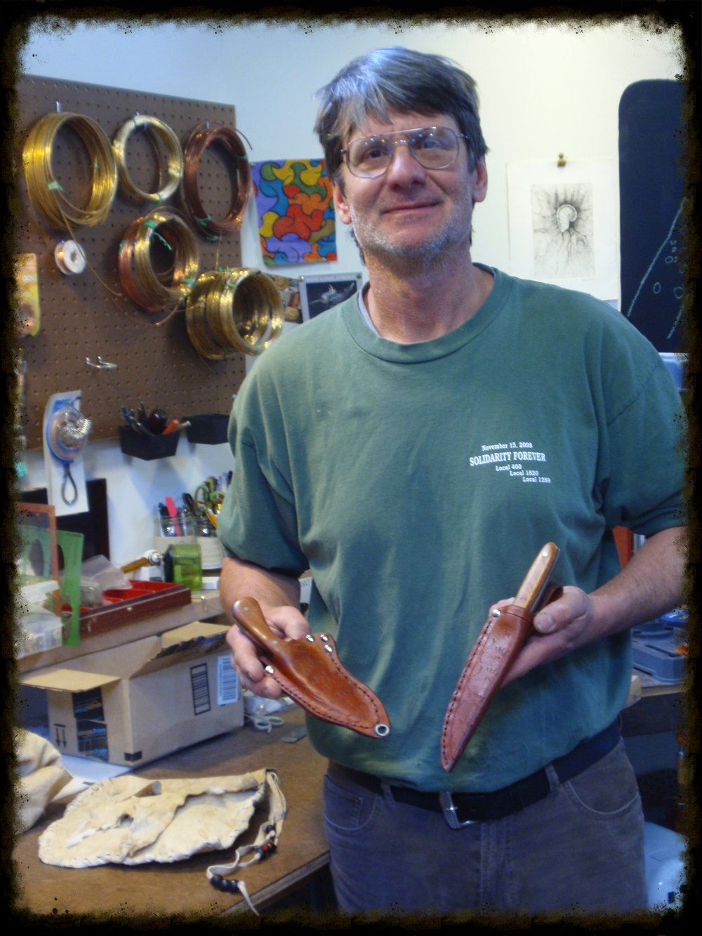 "Michael brought in two handmade knives and made custom leather knife sheaths. ""Michele's custom class allowed me to transform my ideas into works of art. Her knowledge of art is amazing and the studio has every tool and material to make art happen.  I will continue to take classes to learn and make things I am proud of."" -Michael (Bucks County)"