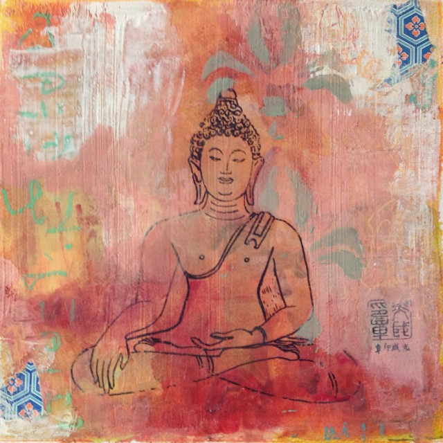 """Seated Buddha Fluer de Lis"" - mixed media series on paper exploring the places you can go through meditation and introspective states… #painting #filizsoyak #buddha #meditate #zen #art #tibet #nepal #asia #japan"