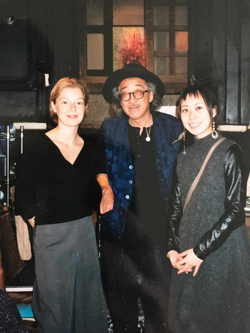 "Filiz at her solo show ""Striving to be Conscious"" in 2003 at Gallery Ef, Asakusa, Tokyo, Japan, with photographer Benjamin Lee."