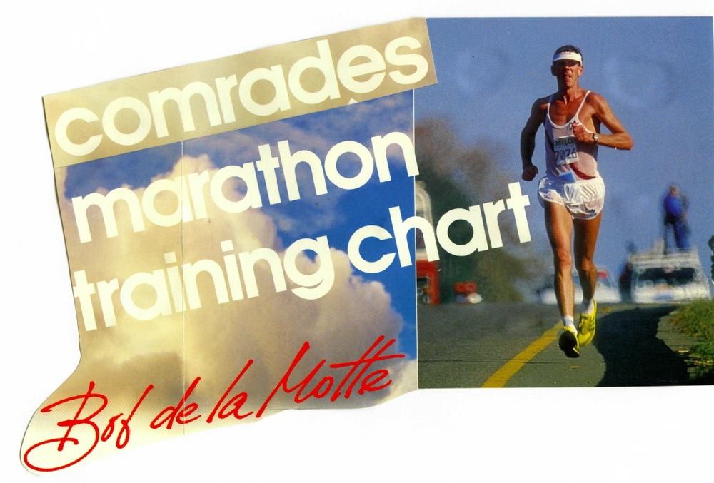 Bob de la Motte busting out that eighties running style. Bob kindly posted his Comrades marathon silver training chart on Facebook