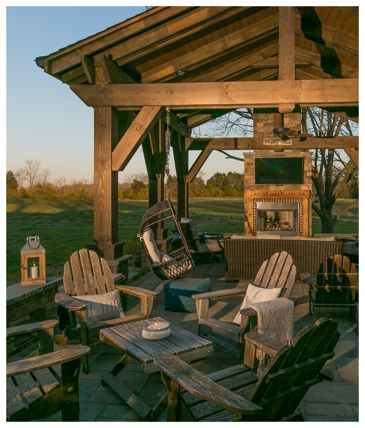 A farmhouse rustic outdoor living space we created for a family with 80 acres of farmland in Waxhaw, NC.