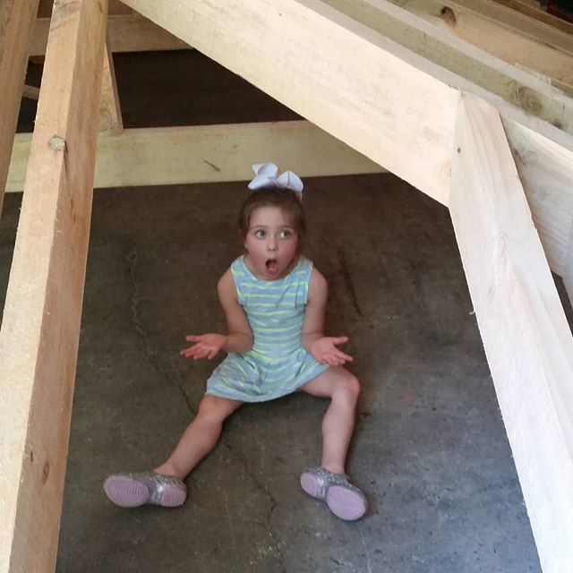 Last year, Jason and his team built the roof structure of a clients cabana in our workshop. It pretty much took up the whole floor. Our daughter, Elana walked in and was just amazed! . Something so beautiful about those unstained timbers. 😀 Happy throwback Thursday! . . . . #outdoorartisan #workshop #tbt #throwbackthursday #daughters #timber #timberframe