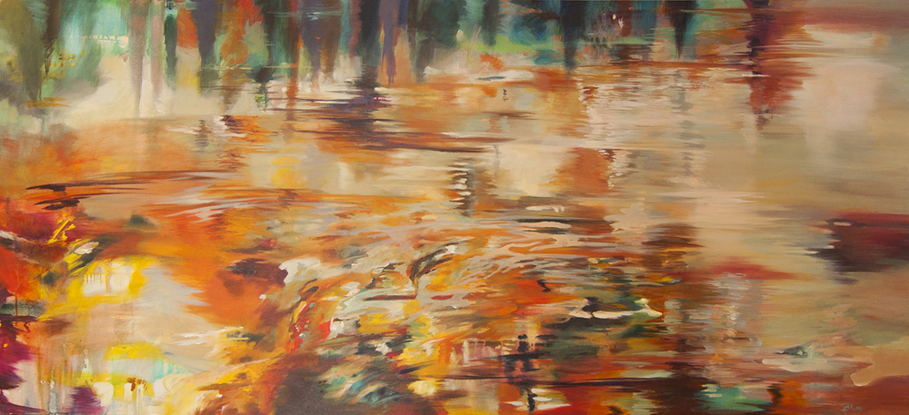 REFLEJO DE ATARDECER   Acrílico sobre tela, 80 x 160 cm.2013