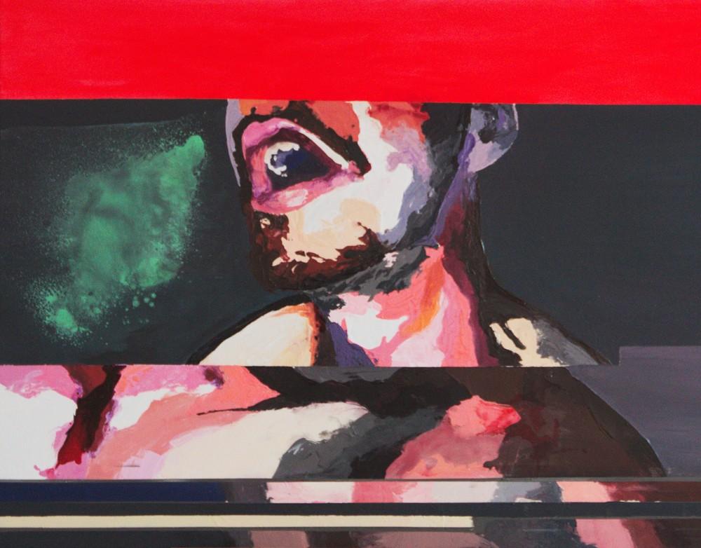 #413,  89x116 cm,  acrylique, encre et spray paint sur toile, 2015