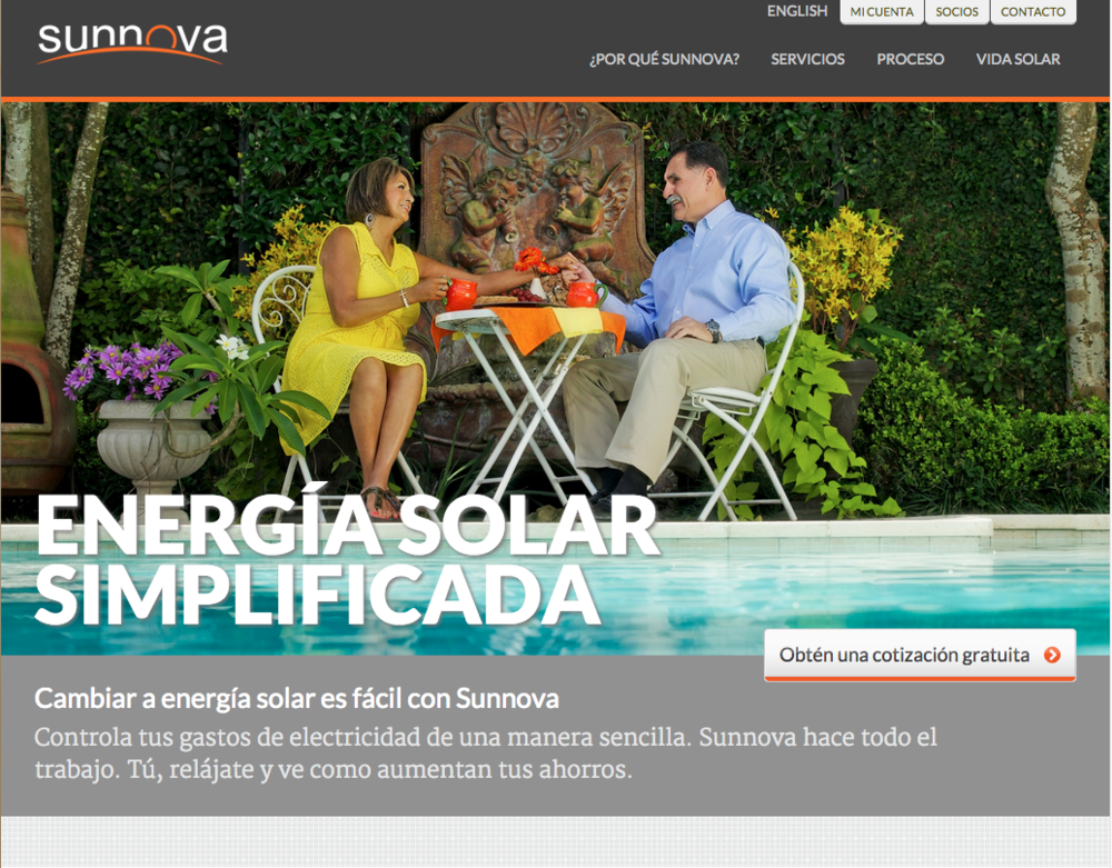 Spanish Translation and Adaptation Services. Sunnova website  & SEO strategy,