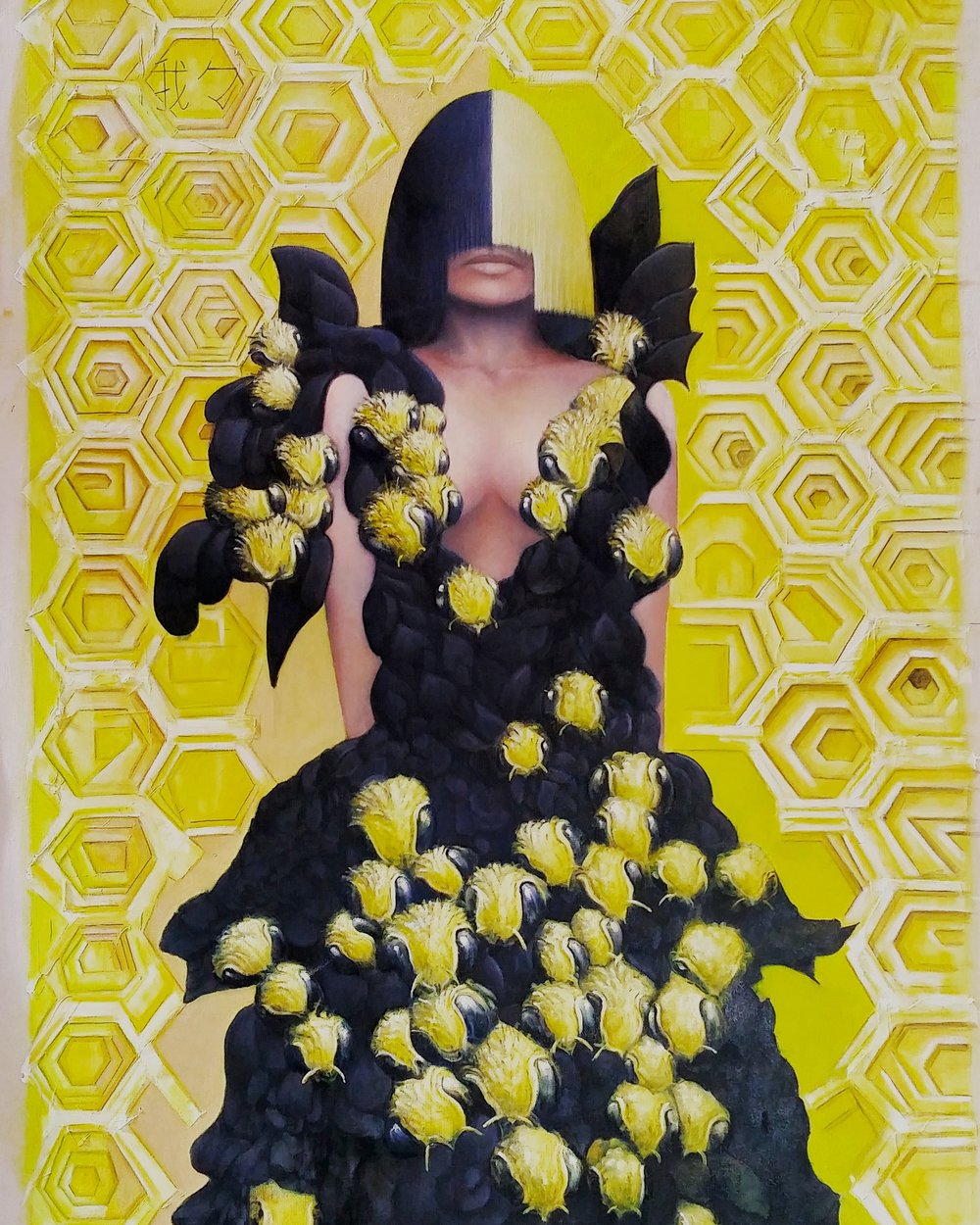 "Behive  60"" x 42""  colored, pencil, oil, marker, gel medium, acrylic on canvas  2016"