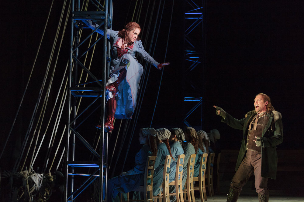 Melody Moore as Senta and Jay Hunter Morris as Erik in The Glimmerglass Festival's 2013 production of Wagner's  The Flying Dutchman.