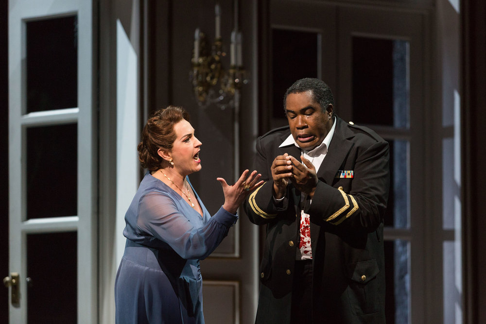Melody Moore as Lady Macbeth and Eric Owens as Macbeth in The Glimmerglass Festival's 2015 production of  Macbeth .