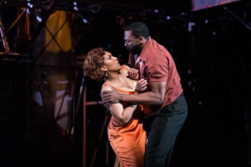 Talise Trevigne as Bess and Norman Garrett as Crown in The Glimmerglass Festival's 2017 production of The Gershwins'  Porgy and Bess .