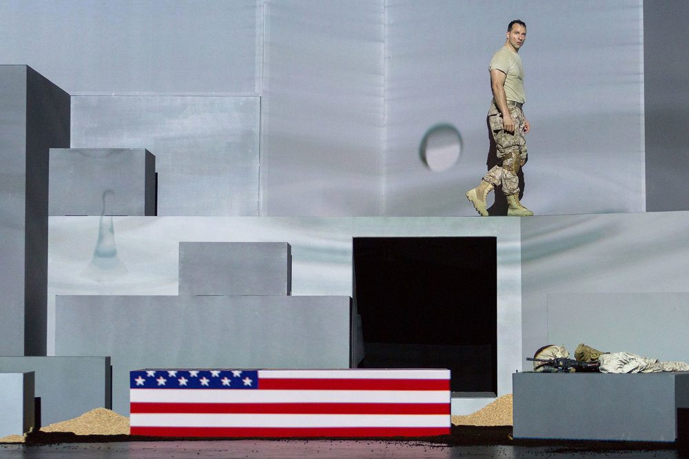 Baritone David Adam Moore as the Soldier in San Diego Opera's  Soldier Songs , 2016.