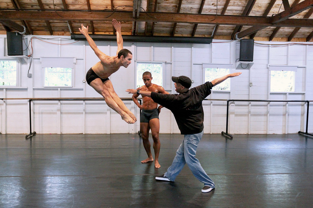 Milton Myers, Program Director, works with students in The School at Jacob's Pillow Contemporary program.