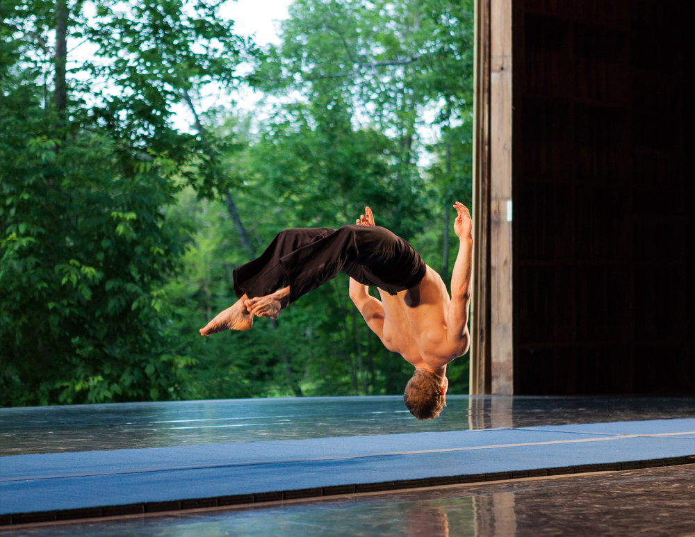 Lewis West of Circa Contemporary Circus performs in the Ted Shawn Theatre during the Jacob's Pillow Dance 80th Anniversary gala.