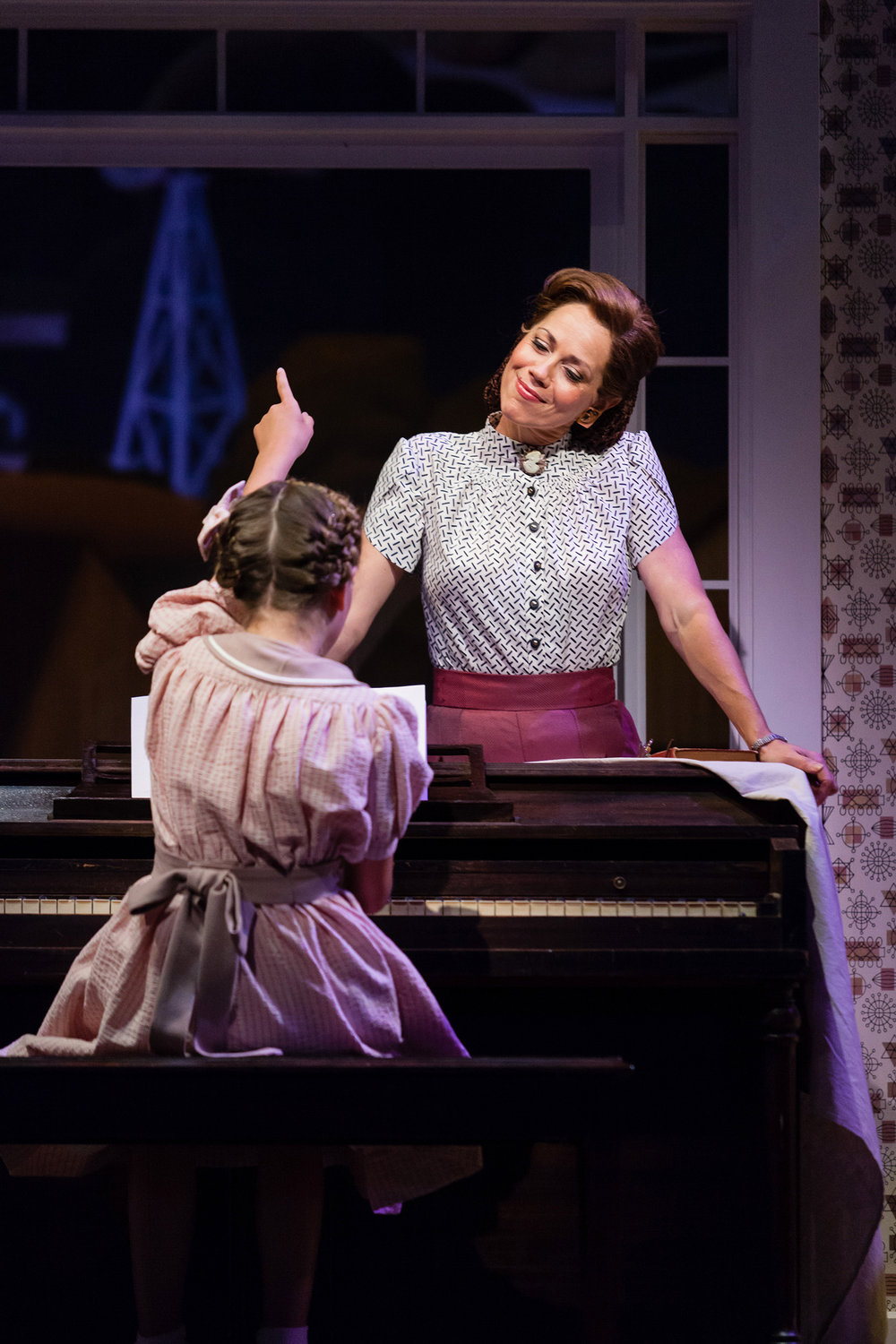 Elizabeth Futral as Marian Paroo with Aria Maholchic as Amaryllis in The Glimmerglass Festival's production of  The Music Man .