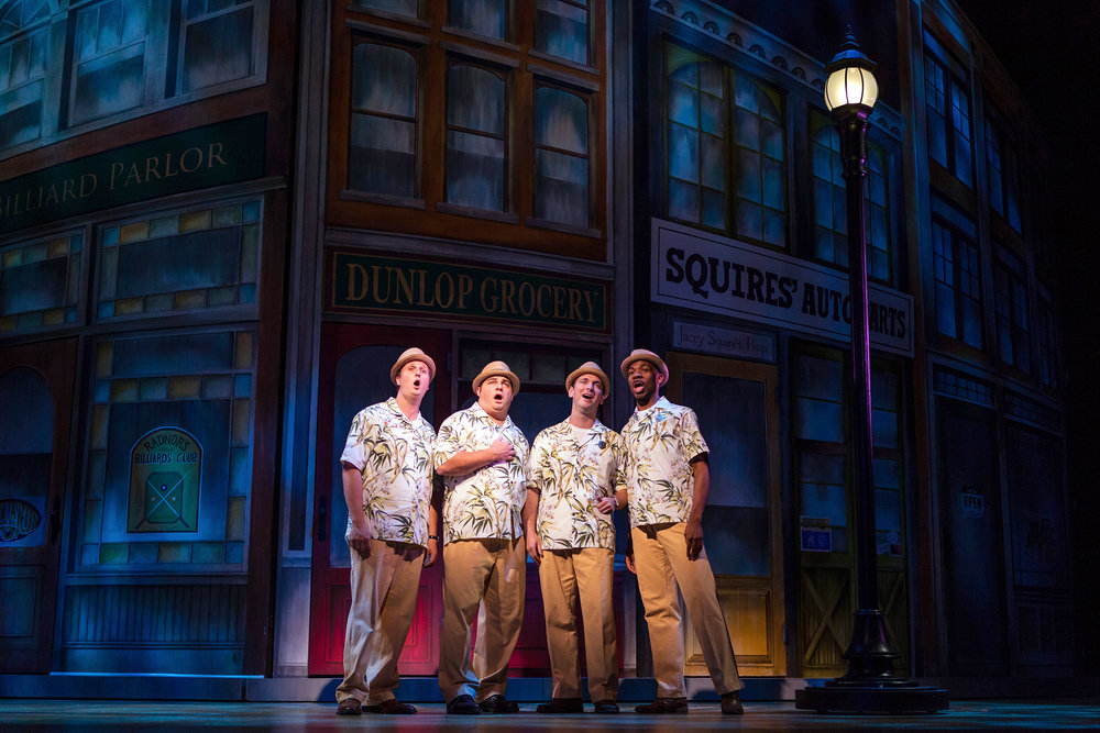Left to Right: Eric Bowden, Adam Bielamowicz, John David Boehr, and Derrell Acon as The Quartet in The Glimmerglass Festival's production of  The Music Man .