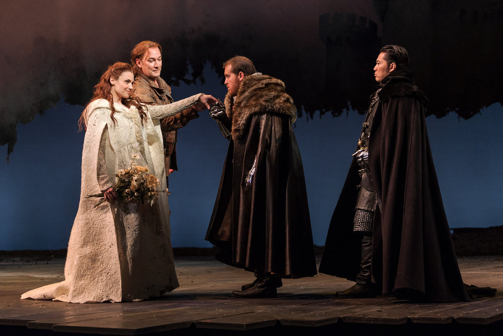L to R: Andriana Chuchman, David Pittsinger as King Arthur, Clay Hilley as Sir Dinaden and Wayne Hu as Sir Sagramore in The Glimmerglass Festival production of  Camelot .