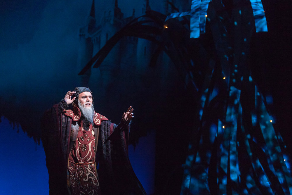 Wynn Harmon as Merlyn in The Glimmerglass Festival production of  Camelot .