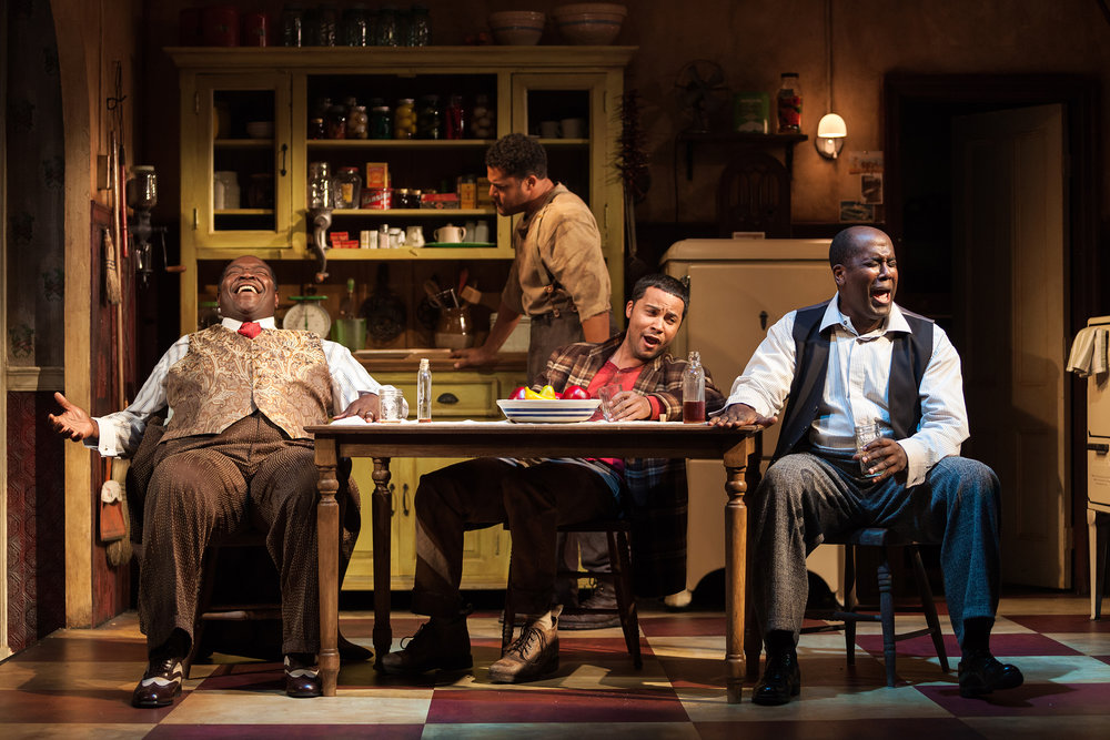 Signature Theatre's production (2012) of August Wilson's  The Piano Lesson . (Left to right) Chuck Cooper, Brandon J. Dirden, Jason Dirden, and James A. Williams. Photographed for The New York Times.