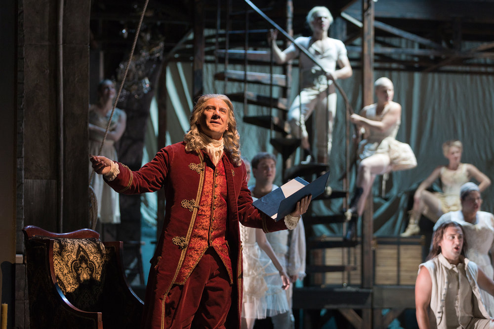 David Garrison as Voltaire in The Glimmerglass Festival production of Bernstein's  Candide .