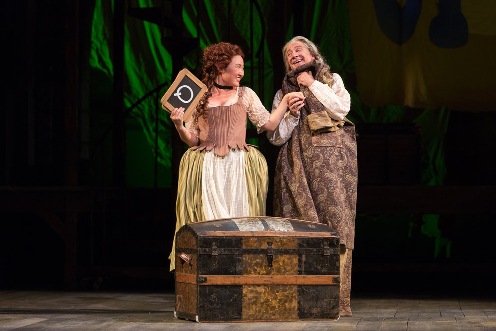 Kristen Choi as Paquette and David Garrison as Pangloss in The Glimmerglass Festival production of Bernstein's  Candide .