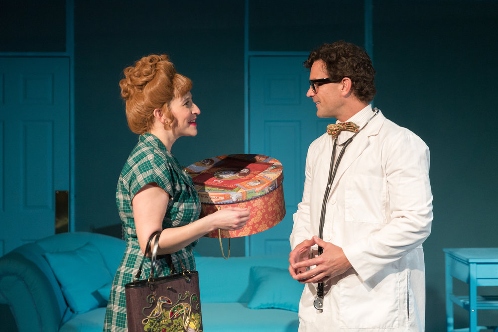 Morgan Carberry, left, and Steve Froehlich in MOXIE Theatre's production of  Bliss (or Emily Post Is Dead!)
