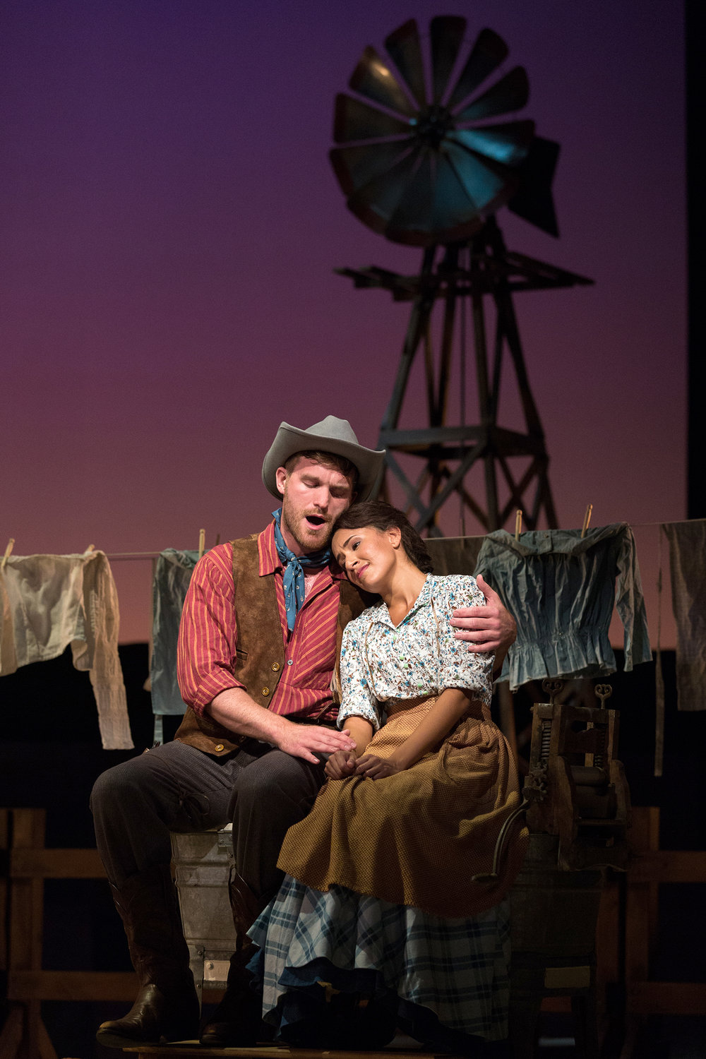 Jarrett Ott as Curly and Vancessa Becerra as Laurey in The Glimmerglass Festival's 2017 production of Rodgers and Hammerstein's  Oklahoma!