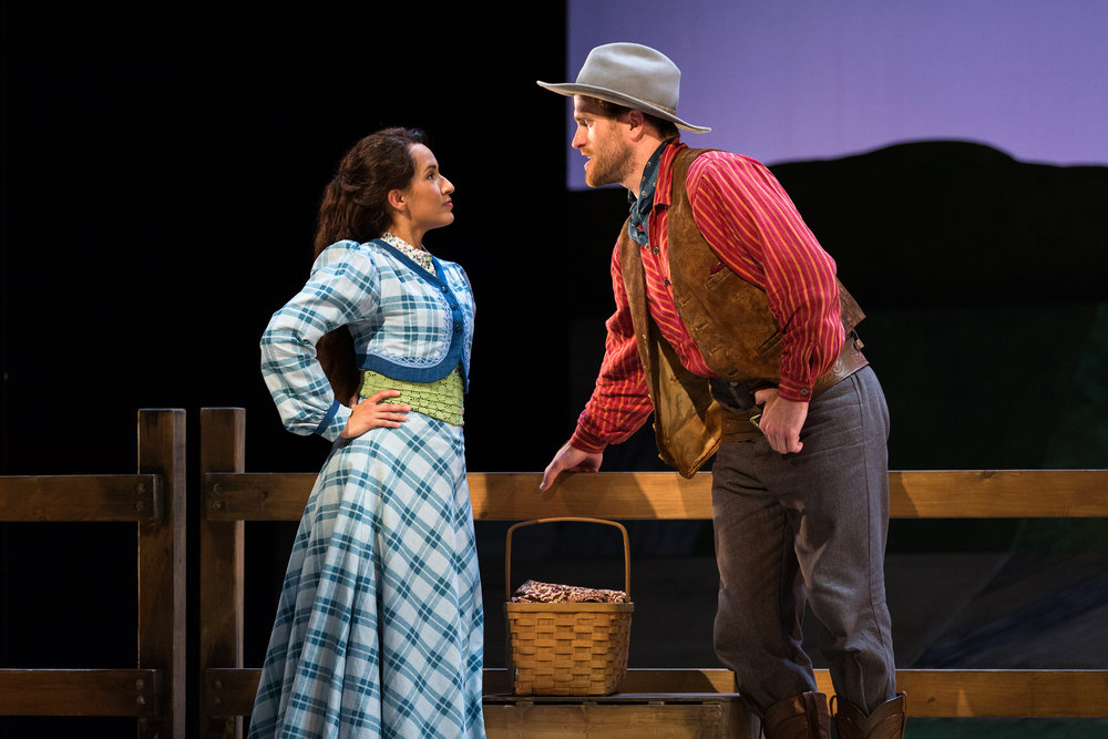 Vanessa Becerra as Laurey and Jarrett Ott as Curly in The Glimmerglass Festival's 2017 production of Rodgers and Hammerstein's  Oklahoma!