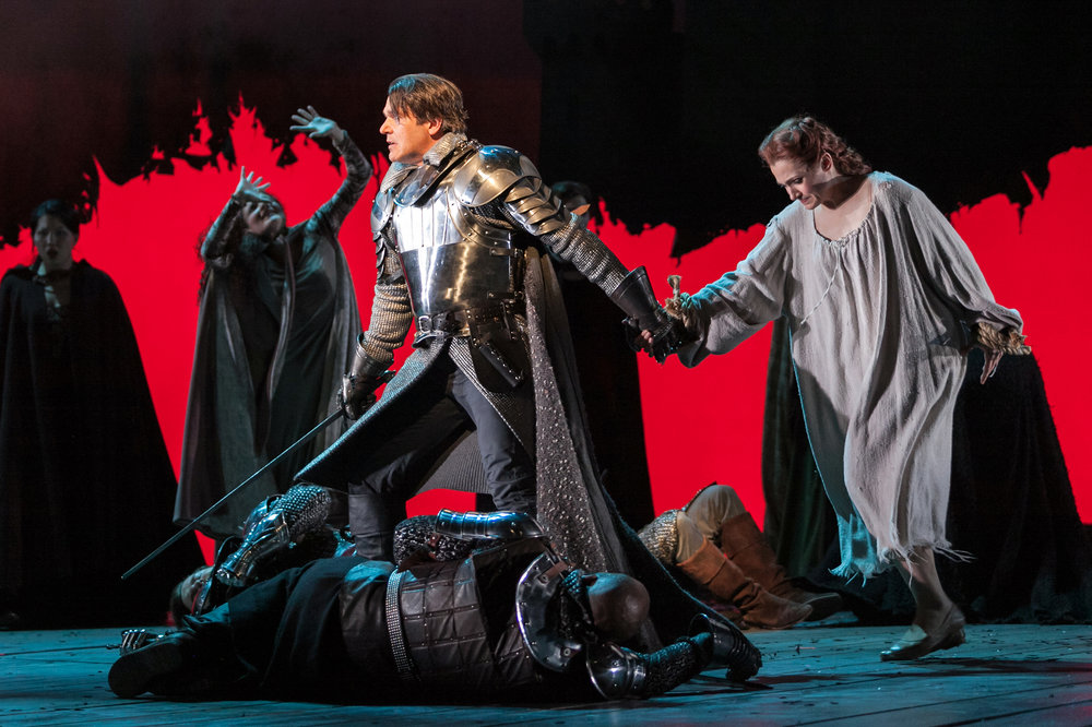 Nathan Gunn as Lancelot and Andriana Chuchman as Guenevere in The Glimmerglass Festival's 2013 production of  Camelot .