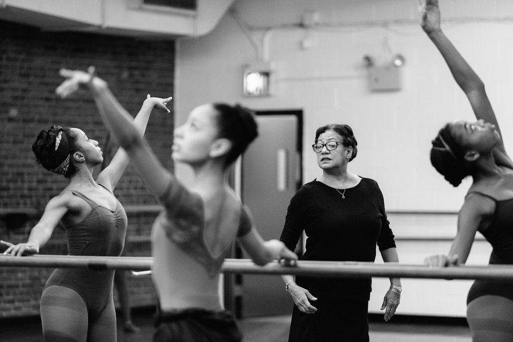 Carolina Ballet's Ballet Master Debra Austin with Dance Theatre of Harlem School students.
