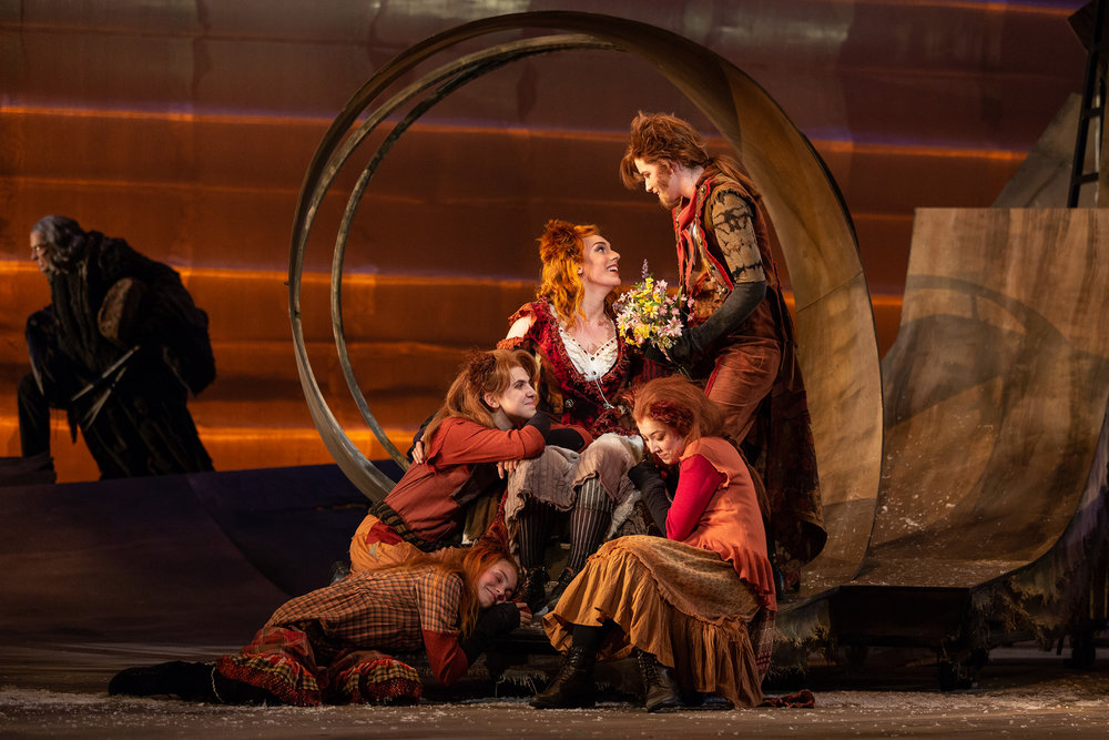 CLockwise from left: Lilly Grady and Catie LeCours as kits, Joanna Latini as the Vixen, Alyssa Martin as the Fox, and Maggie Stephens as a kit in The Glimmerglass Festival's 2018 production of Janáček's  The Cunning Little Vixen .