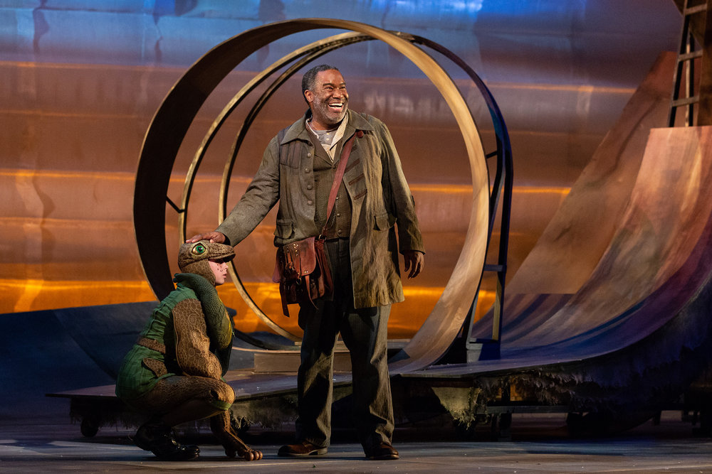 Emma Novak as the Frog and Eric Owens as the Forester in The Glimmerglass Festival's 2018 production of Janáček's  The Cunning Little Vixen .