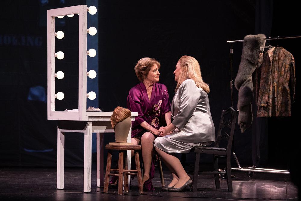 Mezzo soprano Frederica von Stade is Madeline and soprano Kristin Clayton in Beatrice in San Diego Opera's THREE DECEMBERS.