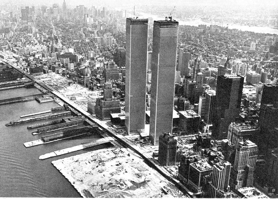 The World Trade Center towers built on the shore of the Hudson River seen here in March, 1973