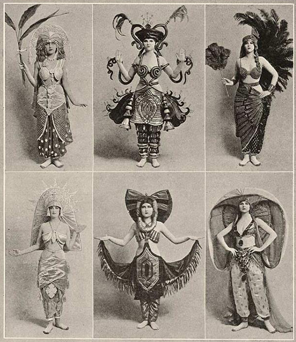 "Costumes shown on the catalog page include ""Mrs.   Crawley Crawlerson"", ""Countess Swat-Tinski""  , ""  Buggeena Rugg"", ""The KOOTIE-Pie"". ""  Fly-Anne de Zoop"", and ""  Aunt Pantz""  ,"