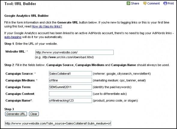 Google URL builder tool