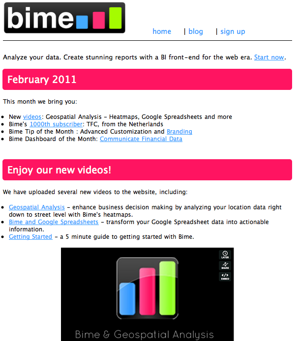 Bime newsletter