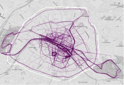 Figure 20: Where people run in Paris      Source   : FlowingData.com