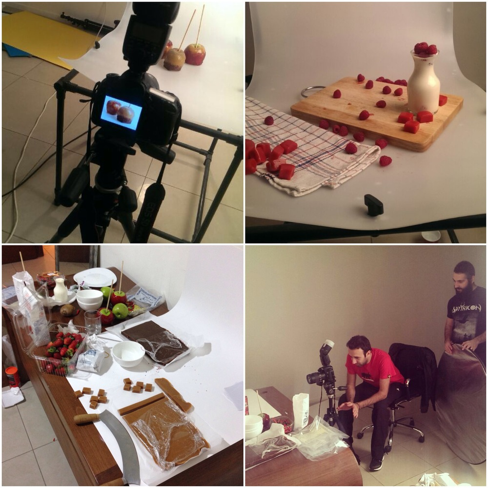 Behind the scenes images of the photoshoot with Caramelt.