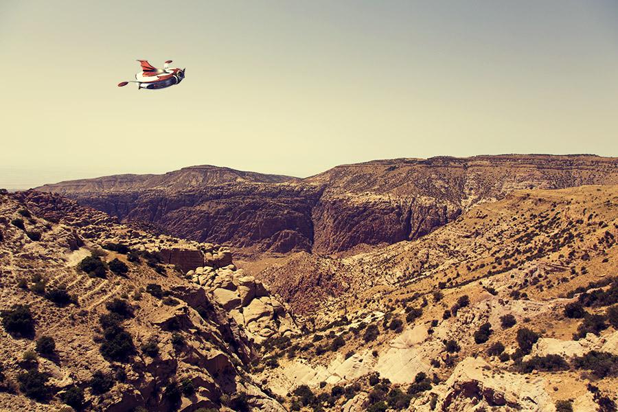 Grendizer flying over Wadi Dana