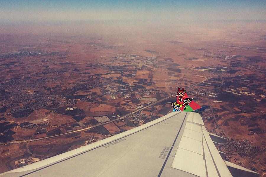 The Powerpuff girls flying over Amman