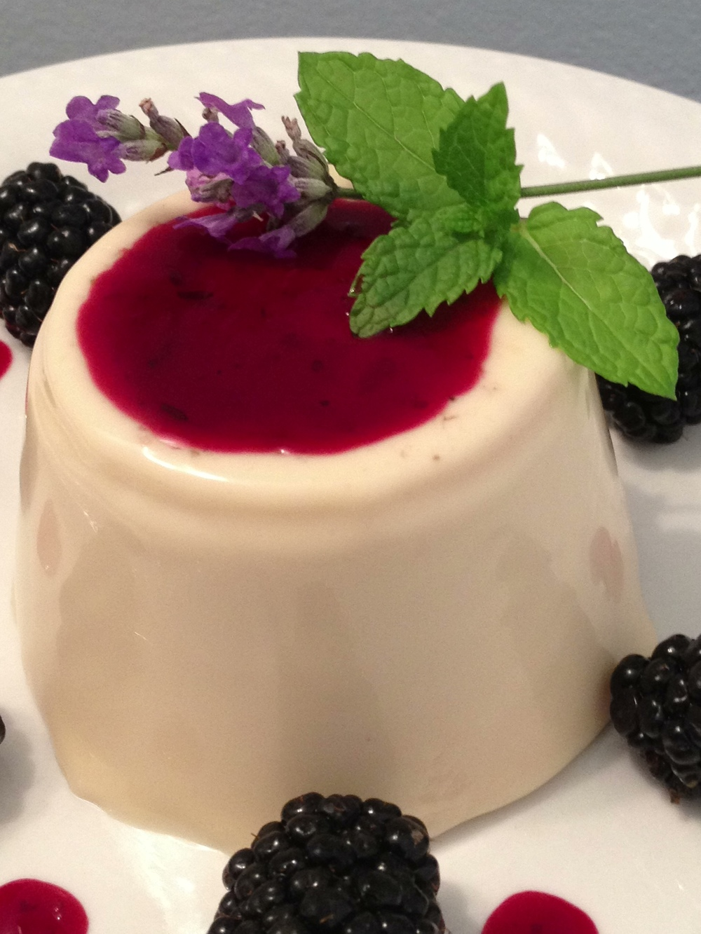 Panna Cotta with Lavender-Blackberry Sauce