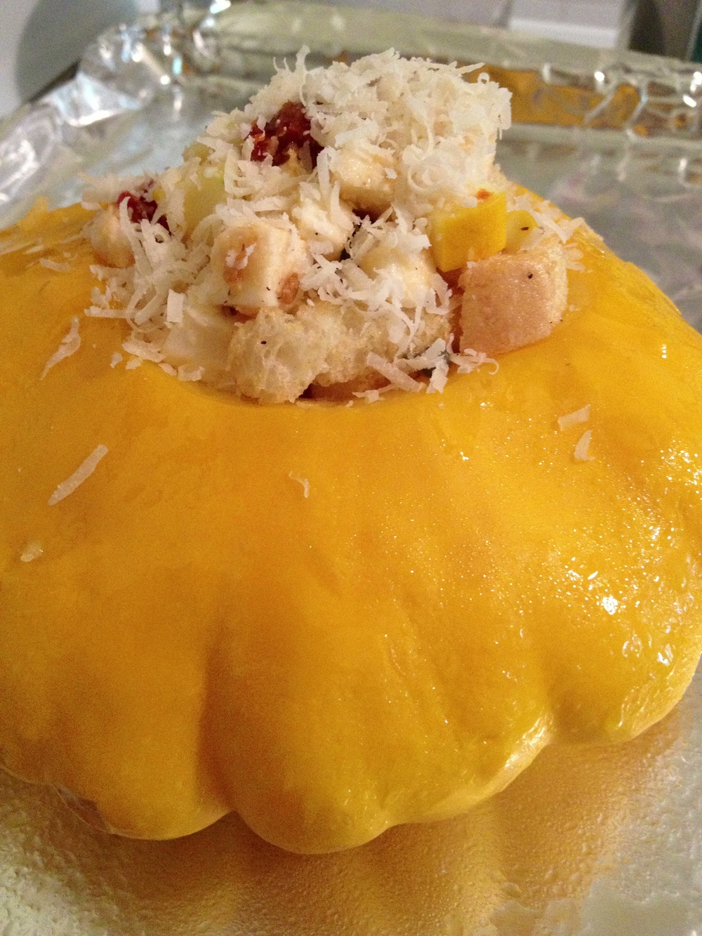 Stuffed Pattypan; prior to baking